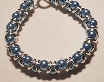 Ice Blue and Silver Goddess Bracelet