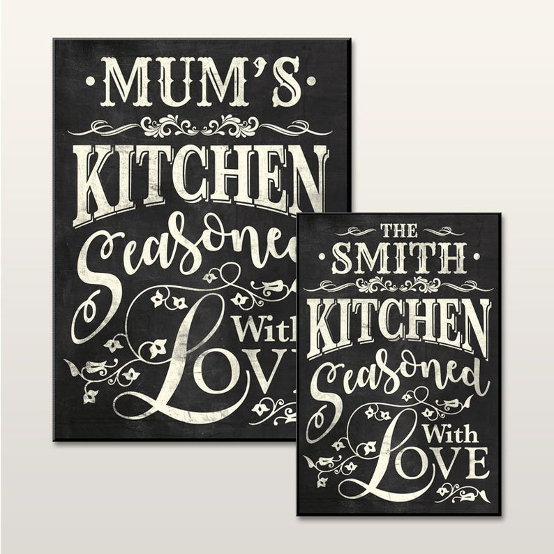 Personalised Chalkboard Effect Kitchen Signs