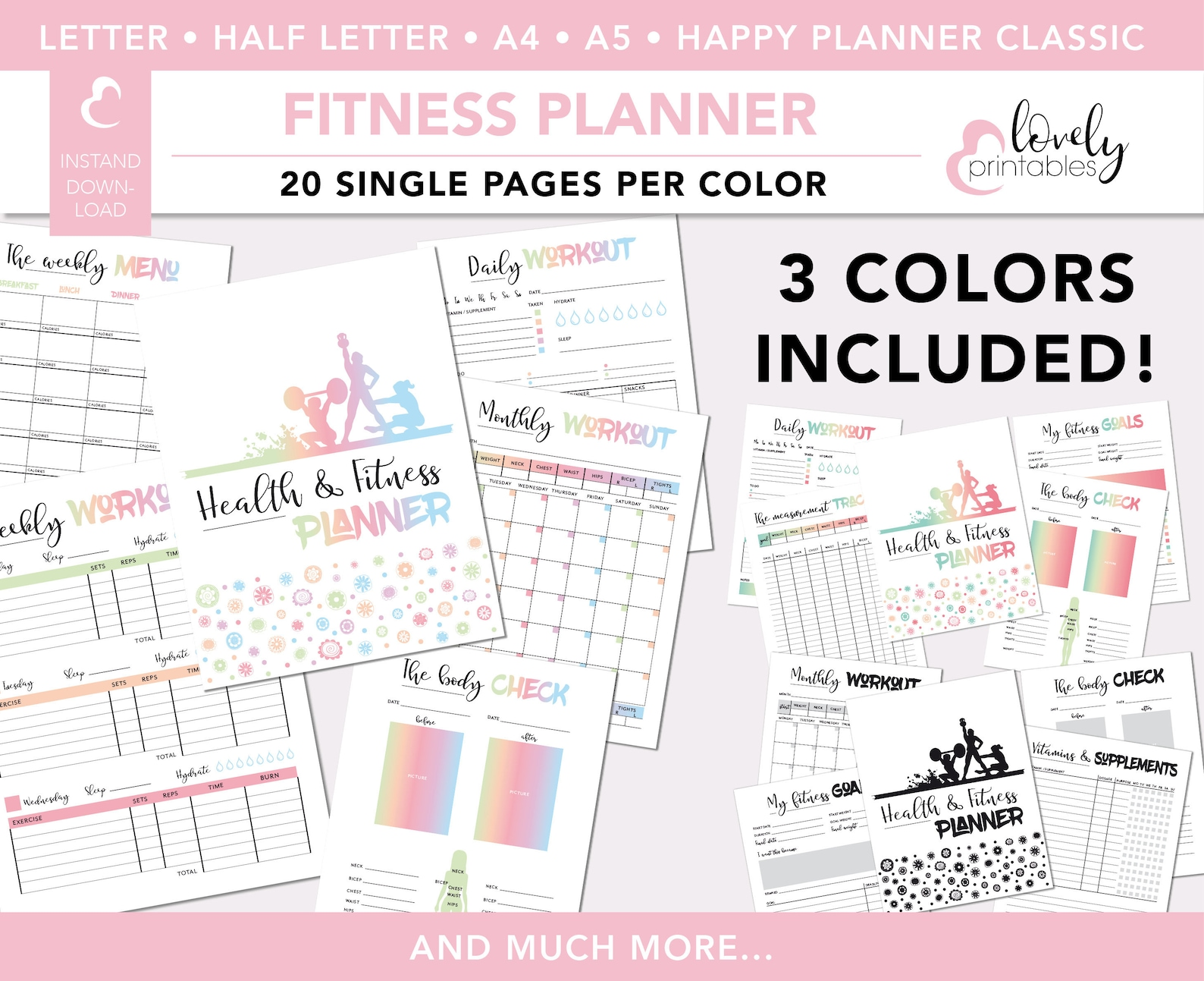 Letter Sized Fitness And Health Planner