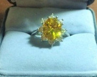 Silver CF Band Ring with Yellow or Citrine Gem