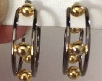 Silver Double Hoop Earrings with Gold Balls
