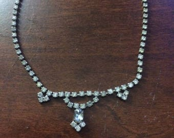 """Vintage 16"""" necklace with clear rhinestones"""