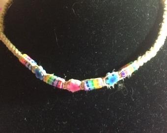 Hemp Choker with Rainbow Beads