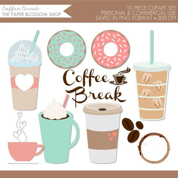 Coffee ClipartCoffe Clip Art Coffee Break ClipartDonut | Etsy