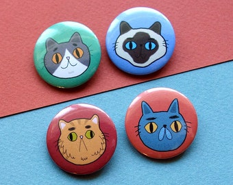 Adorable Cat Pin Buttons / Cat Button Pins Set / Cute Pinback Cat Pins / Cat Lover Gift Pins / Funny Cat Button / SoUnfunny