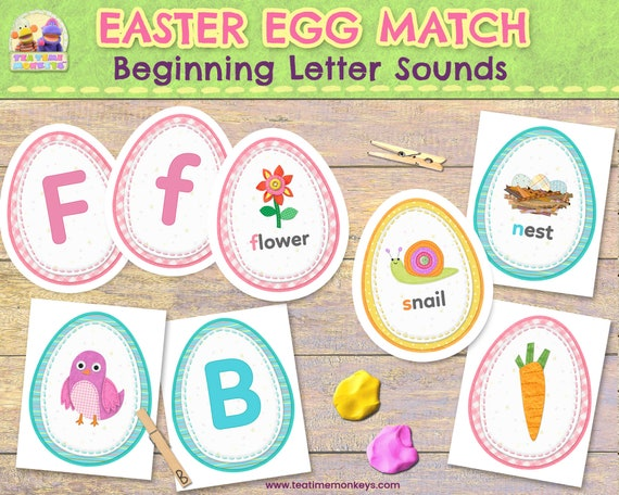 EASTER EGG MATCH: Beginning Letter Sounds & Phonics Matching