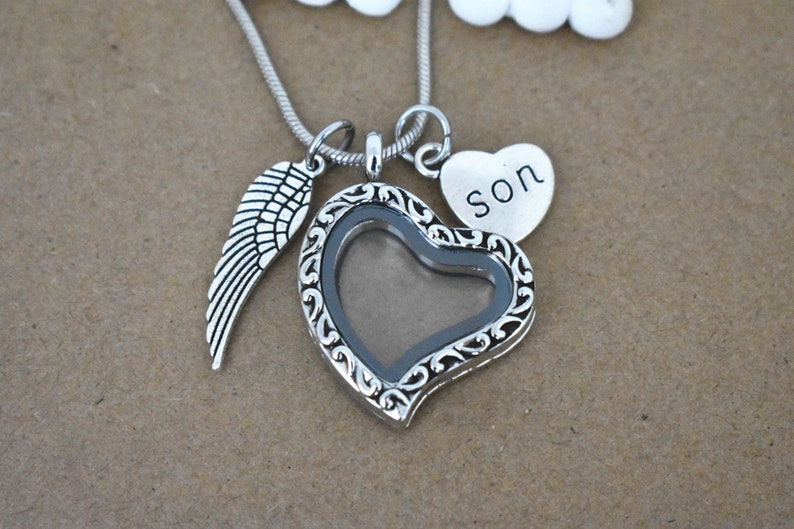 Son Memorial Necklace Vintage Floating Glass Hair Locket Son loss Necklace Living Glass Photo Locket Loss of Son Sympathy Jewelry Gift
