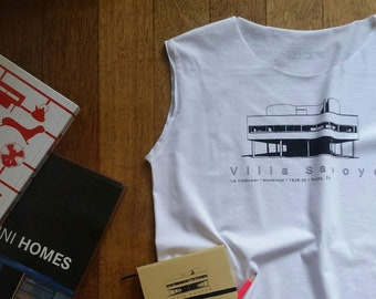 top for architect lover, with awesome print/villa savoye/one size