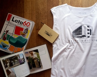 top for architect lover, with awesome print/bauhaus building/one size