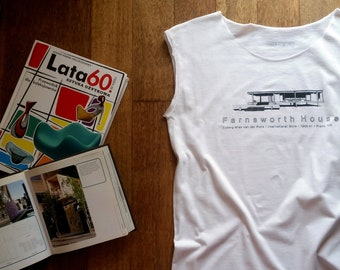 top for architect lover, with awesome print/farnworth house/one size