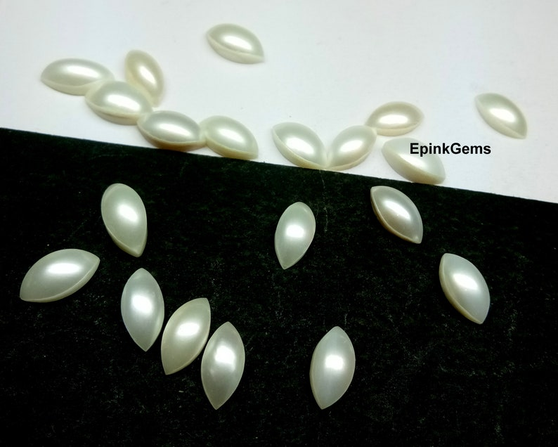Natural Pearl Calibrated Size 2x4 mm To 6x12 mm Marquise Cabochon Gemstone White Smooth Cab Loose Gemstone