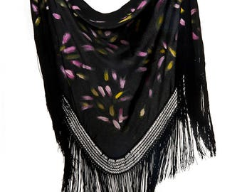 """Black shawl, hand-painted in strokes of various colors """"Fiesta"""""""