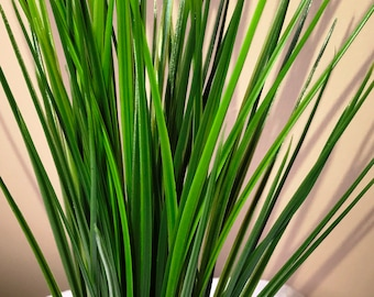 """17"""" Tall GREEN SPIKE Weed Grass - Extra Large & Extra thick Artificial Aquarium Plastic Plant w/ Stone Base, Natural, Realistic, Life-like"""