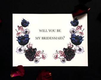 Will you be my Bridesmaid? Card Dark Bloom Pack