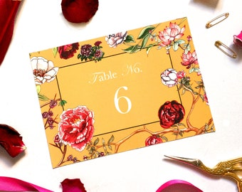 Wedding Table Numbers or Table Names in Ochre Peony