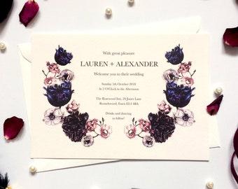 Wedding Invitations in Dark Bloom