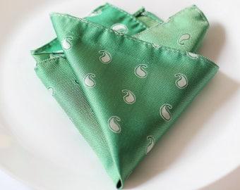 Green Paisley Pocket Square, Men's Suit Matching Handkerchief, Wedding Pocket Square Men's Fashion Accessory, Italian Vintage Pocket Square
