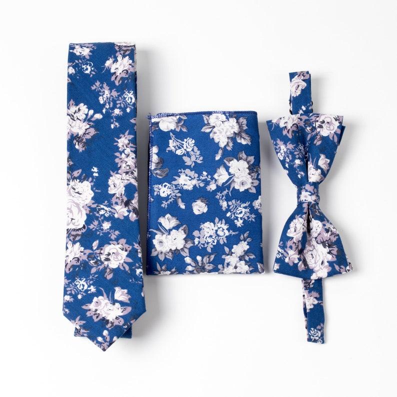 1fef5e41081c Royal Blue Floral Skinny Ties Sets Skinny Ties Blue Sets For | Etsy
