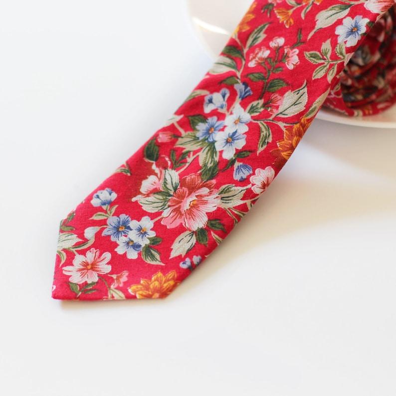 d57c614deb1e Happy Red Wedding Floral Skinny Tie Skinny Men's Ties   Etsy