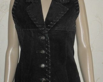 Vintage Women/'s Black Suede SINCLAIR Button Fitted Western Cowboy Waistcoats Size 34  36