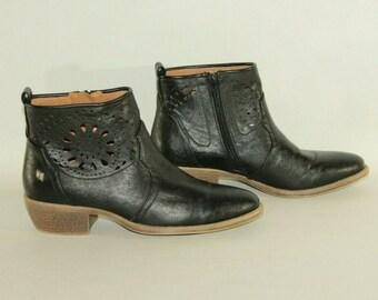 Vintage Brown Leather GABOR TEX Zip Square Toe Mid Heel