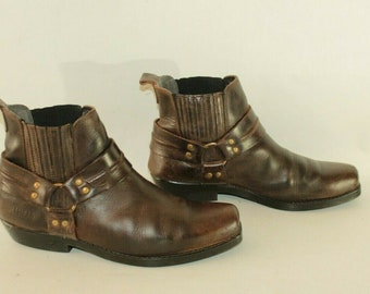 Vintage Brown Leather BULLHEAD Pull On Chelsea Cowboy Western Ankle Boots  Size 8   42 2b0b99ae3bc06