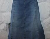 Vintage Blue Denim BESSIE Zip Vent A-Line Knee Length Casual Skirt Size L , L 25