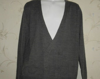 b6be98b7d5 Grey Acrylic NEW LOOK Double Button V Neck Top Knitwear Sweater Cardigan  Size L