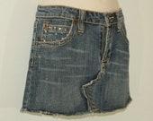 Vintage Blue Denim GOOD TIME Zip Stretch Tassel Rhinestones Diamante Mini Skirt W 29 quot