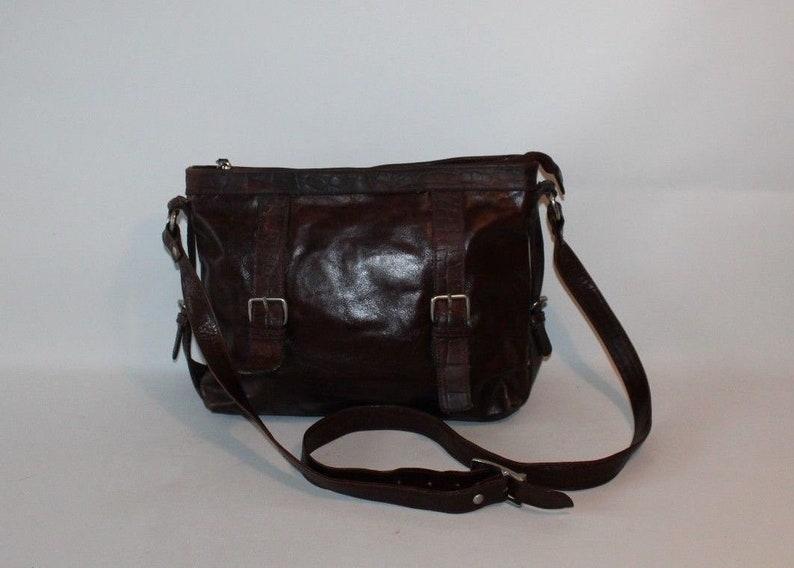 644bd68355d5 Vintage Brown Leather PAUL CHRIZ Zip Hand Bag Shoulder Bag