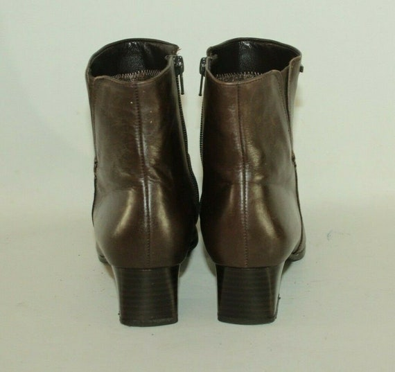 Vintage Brown Leather GABOR TEX Zip Square Toe Mid Heel Ankle Boots Size 4.5 37.5 Boho