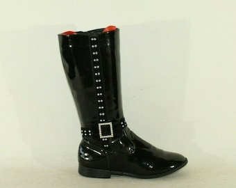 Vintage Girls'  Black Patient Looks Leather RSB Zip Rhinestones Mid Calf Casual Boots Size 3 /36