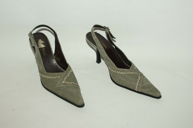 10b324c5a9663 Vintage Khaki Canvas ZANDONELA Strap Slingback Pointed High Heel Shoes  Sandal Size 4 /37