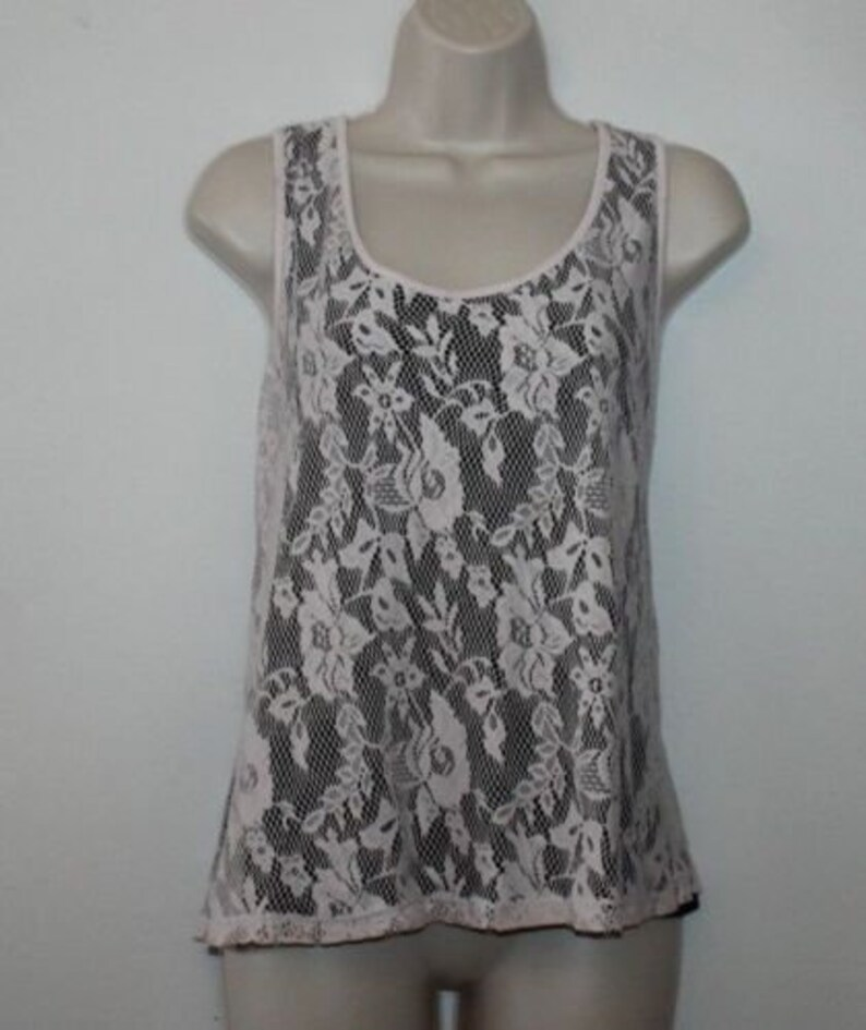 Vintage Light Pink Guipure SELECT Lace Sleeveless Casual Party Top Blouse Size 16  44