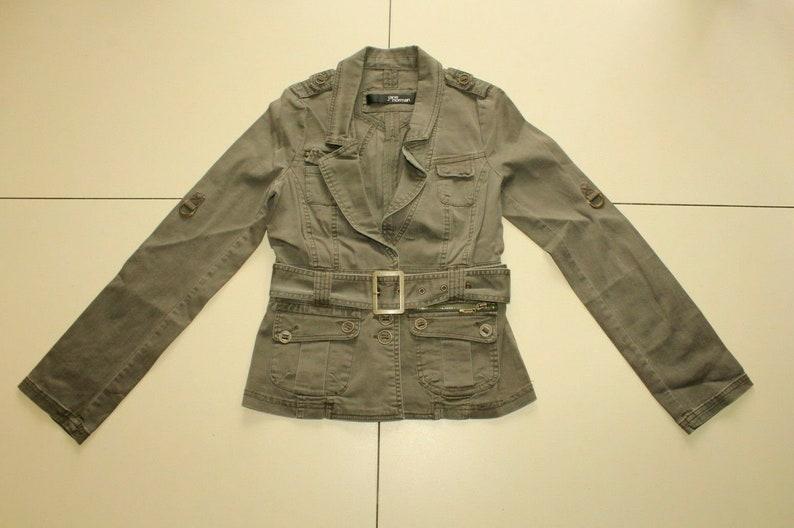 Vintage Khaki Cotton Blend JANE NORMAN Button Belted Fitted Jacket Blazer Size 10  38