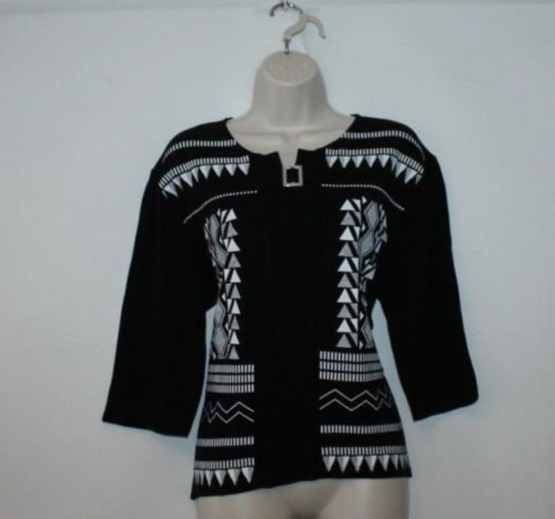 Vintage Black /& White Geometric BELLA Stretch 34 Sleeve Casual Top Blouse Size 14  42
