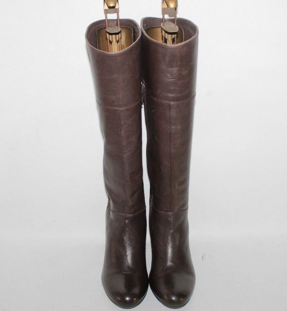 Vintage Brown Leather ATMOSPHERE Zip Pull On Round Toe Mid Calf High Heel Boots Sz 7 40