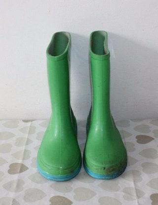 Vintage Green Rubber Pull On Mid Calf Casual Wellington Kids Boots Size 10  28