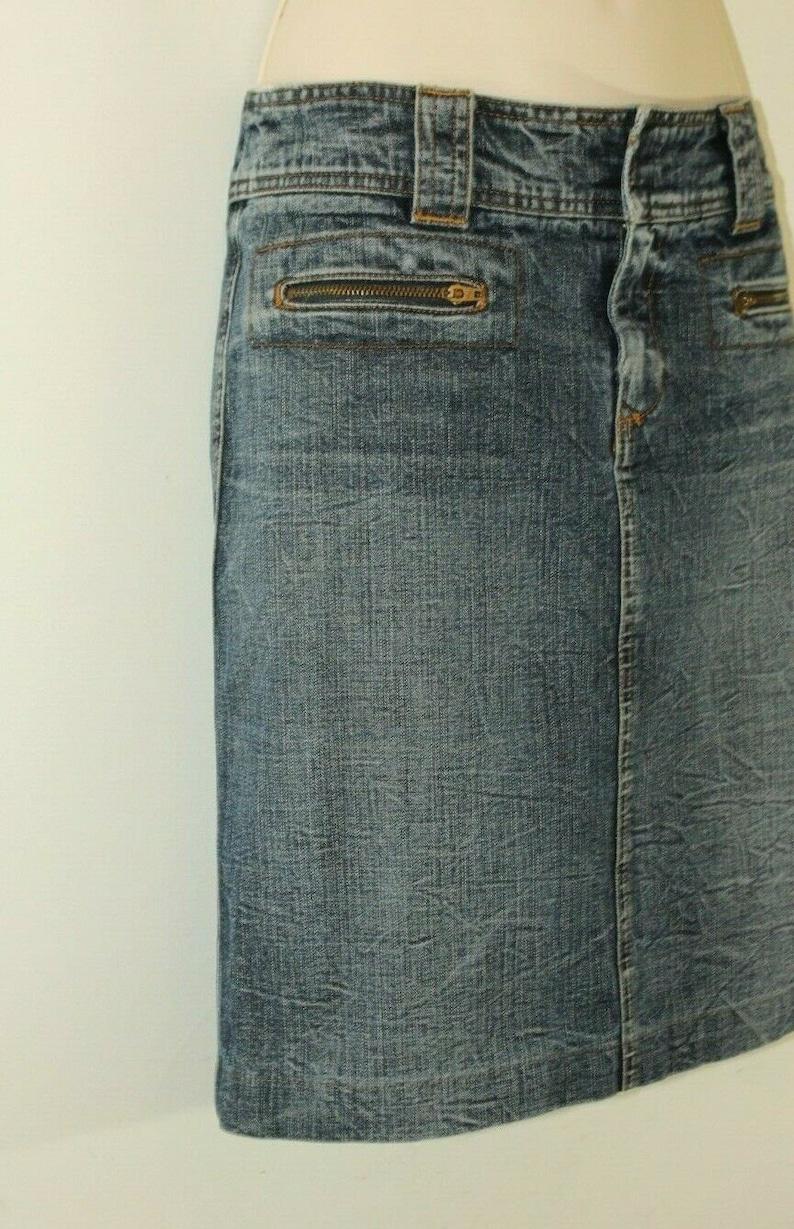 Vintage Women/'s Blue Denim DKNY JEANS Zip Mini Distressed Straight Skirt Size 1038 L 20