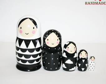 26baa145be03 Nesting dolls Black and white geometric matryoshka modern nesting doll  custom nesting dolls modern home decor Interior decoration