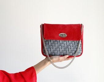 felt-like woven fabric day bag, red and grey vegan shoulder bag, evening bag, red occasion handbag, felt bag