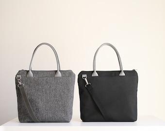 Women's shoulder bag in grey fabric,black zip tote bag, casual office bag, vegan fabric shoulder bag, shopper, handmade