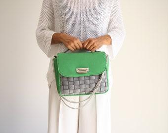 Green women's day bag, felt-like shoulder bag, vegan evening bag, suede bag, classic bag