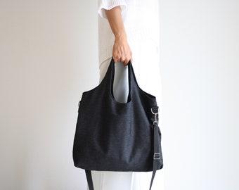 Large women's day bag in black jeans, Hobo bag, shoulder bag, handbag, soft fabric bag, handmade in italy, vegan and sustainable