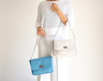Minimal blue or ice shoulder bag, vegan suede day handbag, stylish evening bag, classic summer bag