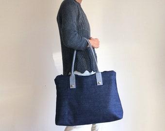 handmade zipper bag made in Italy Large Tote bag Black waterproof daytime bag for women/'s shopper in waterproof fabric vegan canvas bag