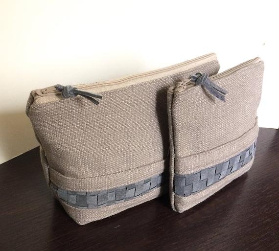 trousse de toilette et cas de tirette, ensemble de sac cosmétique, fait en Italie, à la main, embrayage, pochette, cadeau pour elle, embrayage petit, sac à main, trousse de maquillage