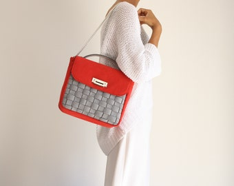 large red day women's handbag, shoulder bag in woven felt-like fabric, teacher gift, vegan evening suede bag