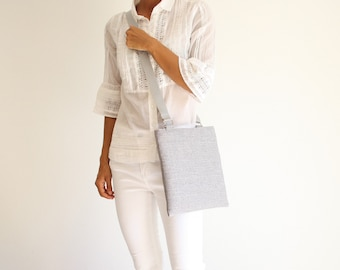 women's shoulder bag in gray fabric, everyday shoulder bag, small flat canvas shoulder bag, vegan bag, made in italy bag