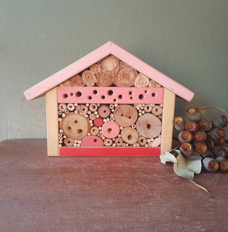 Magnificent Solitary Bee Home Chalet Style Bee And Insect Habitat Recycled Garden Art In Pinks Download Free Architecture Designs Scobabritishbridgeorg